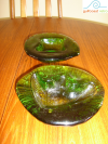 Mid Century Blenko Freeform Ashtray Set